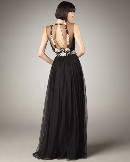 Illusion-Top Embellished Gown