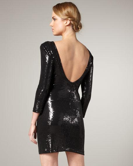 Scoop-Back Sequin Dress, Black
