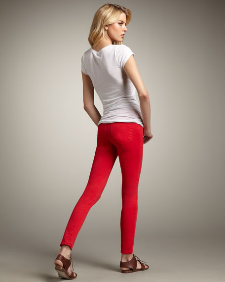 811 Mid-Rise Skinny Twill Jeans, Bright Red