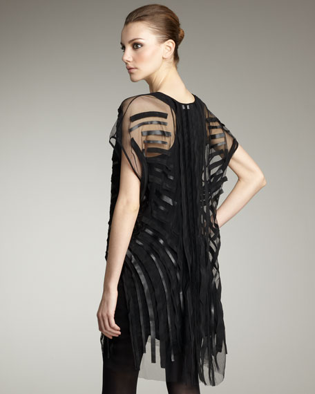 Simone Sheer-Stripe Dress