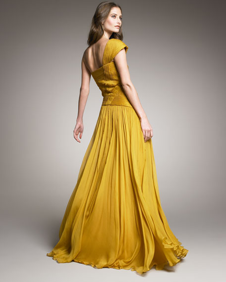 One-Shoulder Basket-Weave Gown