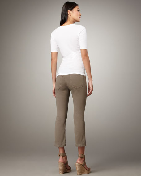 Cropped Flared Twill Pants