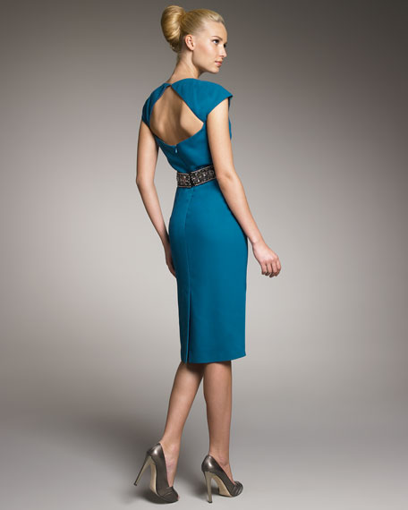 Beaded-Waist Cocktail Dress