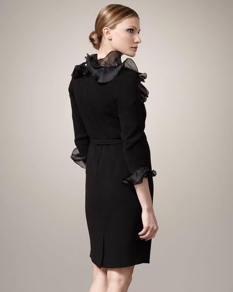 Ruffled-Collar Belted Dress