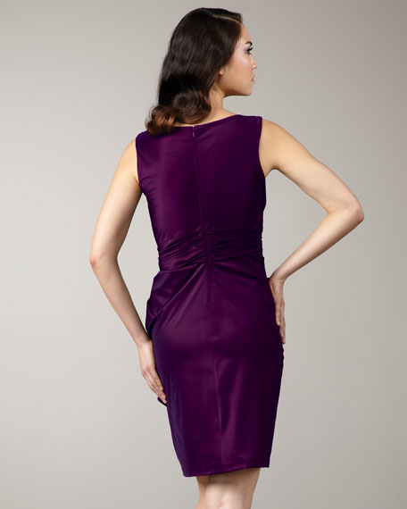 Ruched Bateau-Neck Dress