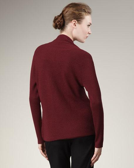 Washable-Wool Angled Cardigan, Petite