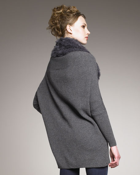 Trevista Fur-Trim Ribbed Cardigan