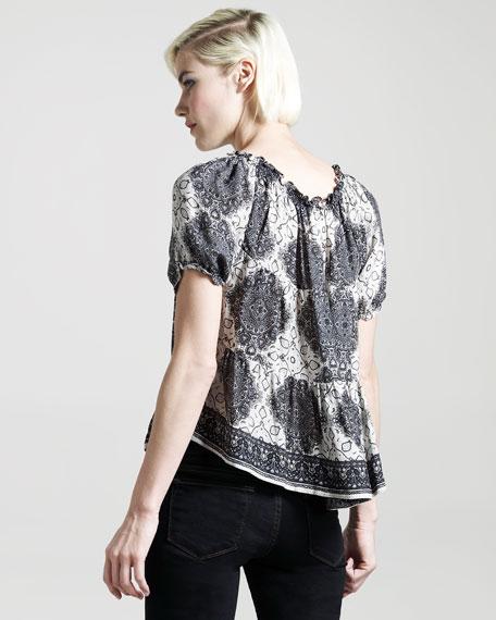 Ines Medallion-Print Silk Blouse
