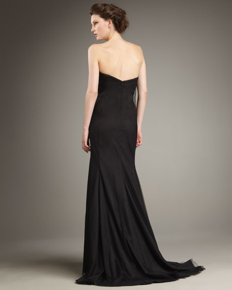 Mid-Sequined Strapless Gown