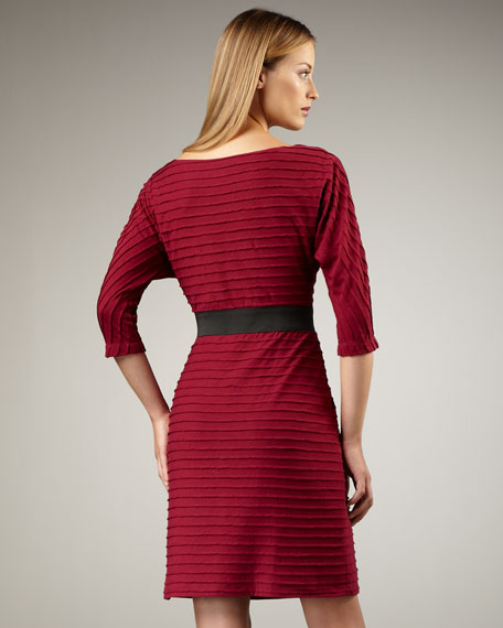 Striped Dolman-Sleeve Dress