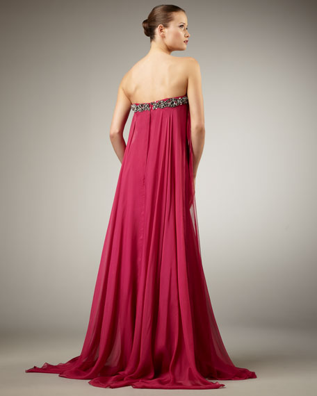 Flowy Bead-Top Strapless Gown