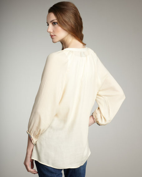 Surrey Embroidered Peasant Top