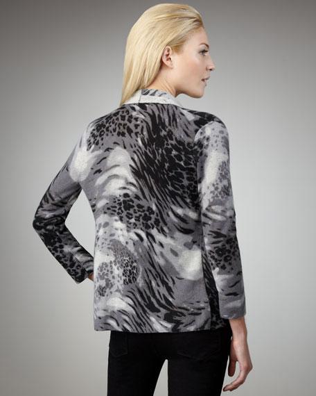 Animal-Print Cashmere Waterfall Cardigan