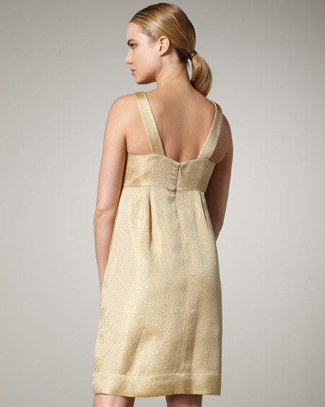 Beaded-Neck Empire-Waist Dress