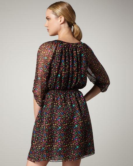 Button-Neck Printed Chiffon Dress