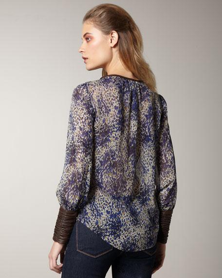 Chantal Leather-Detail Blouse