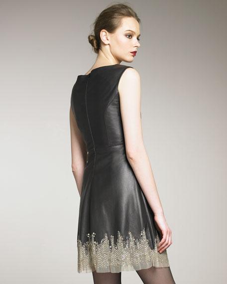 Beaded Sweep Leather Dress