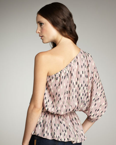 Printed One-Shoulder Blouse