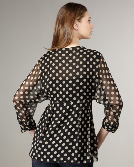 Turn Into French Polka-Dot Top