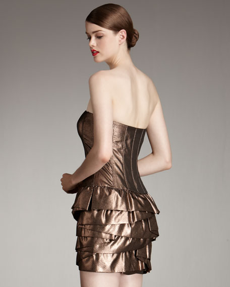 Metallic Ruffled-Skirt Dress, Copper