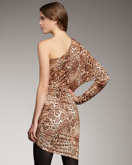 Hilary One-Shoulder Leopard-Print Dress