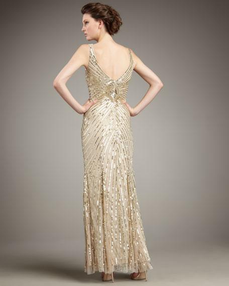 Chevron Sequin Gown