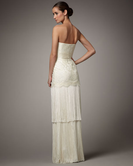 Strapless Lace & Fringe Gown