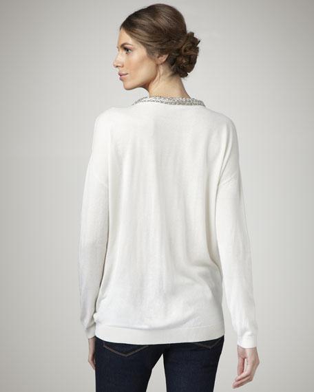 Tucked Bead-Neck Sweater