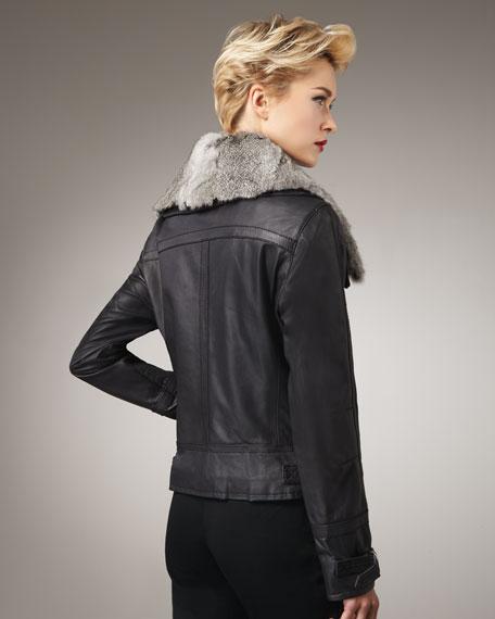 Fur-Collar Leather Jacket
