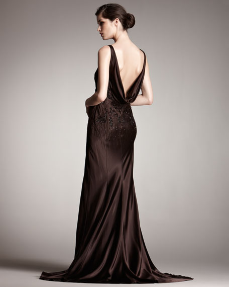 Draped-Back Gown