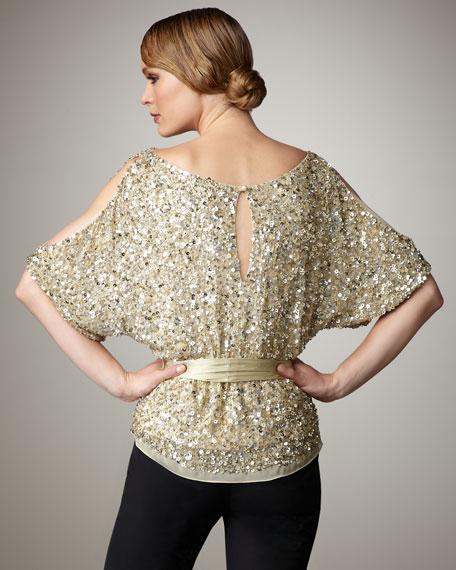 Cold Shoulder Sequin Top