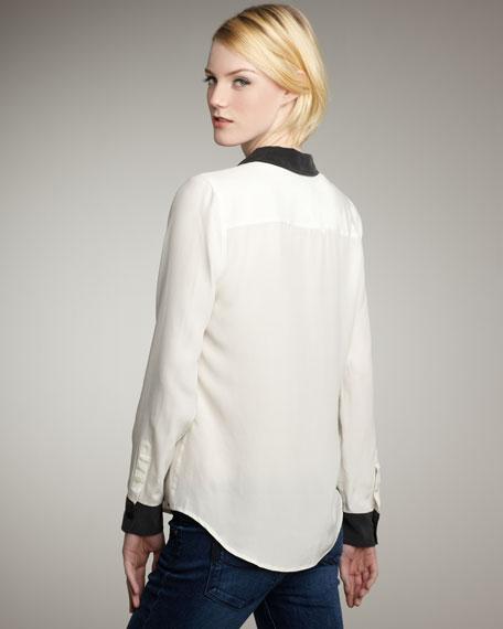Brett Colorblock Long-Sleeve Silk Blouse