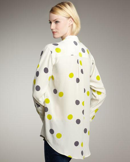 Daddy Dot-Printed Silk Blouse