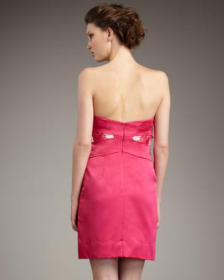 Strapless Floral-Applique Dress