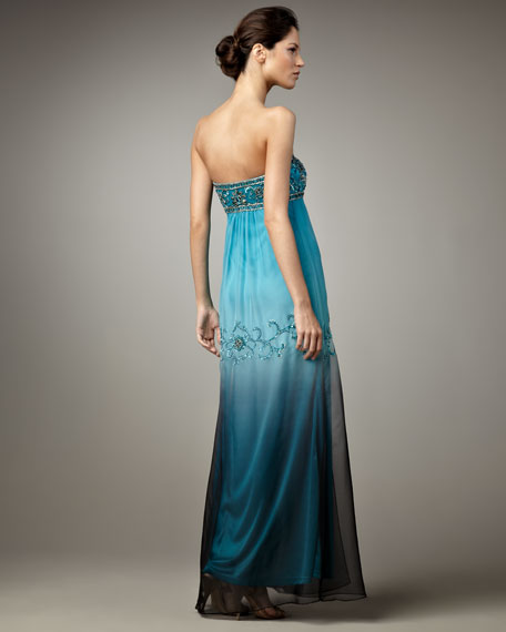 Ombre Strapless Gown