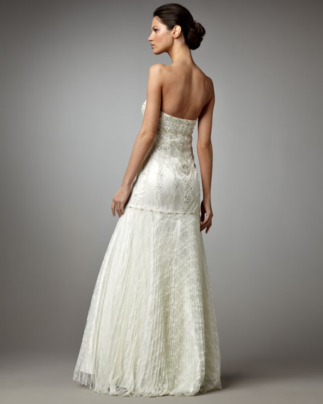 Beaded Drop-Waist Gown