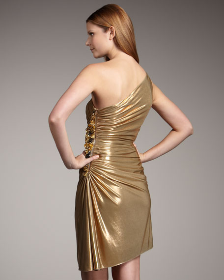 Natashi One-Shoulder Metallic Dress