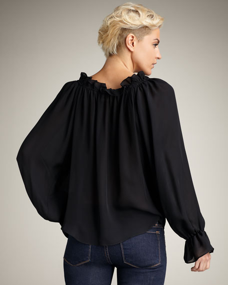 Ruffle-Neck Silk Top