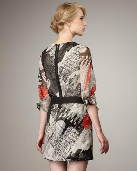 Belted Print Dress