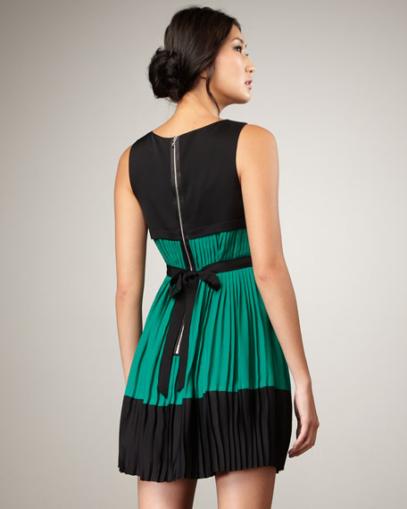 Pleated Colorblock Dress