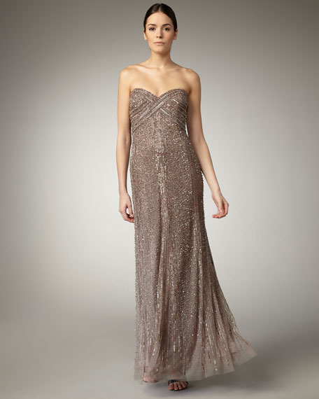 Strapless Beaded Gown
