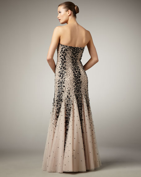 Two-Tone Strapless Mermaid Gown