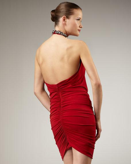 Jewel-Neck Halter Dress