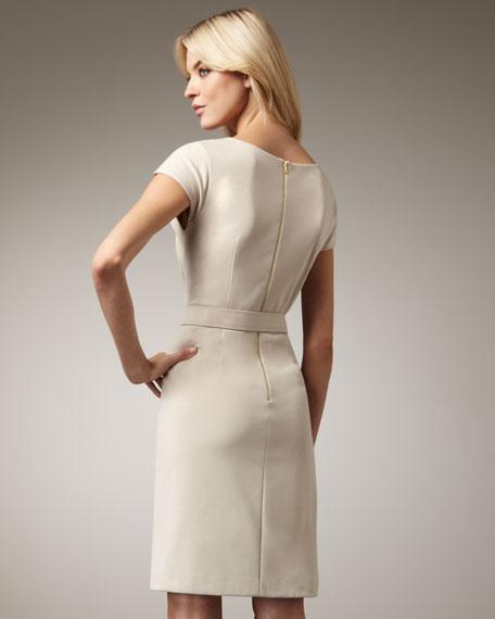 Asymmetric Belted Sheath Dress
