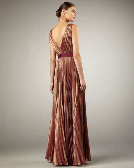 Pleated-Chiffon Gown