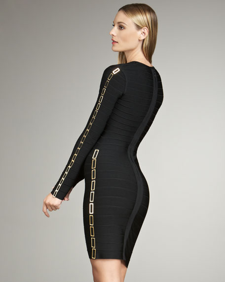 Chain-Detail Bandage Dress