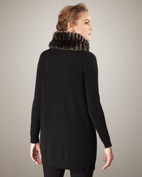 Fur-Neck Cashmere Tunic