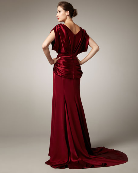 Boat-Neck Belted Gown