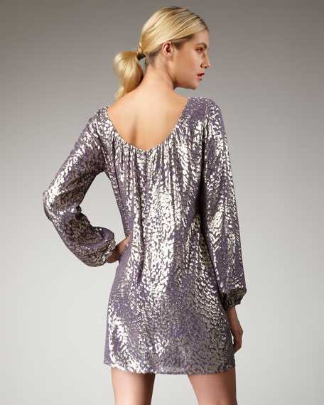 Metallic-Dotted Shift Dress
