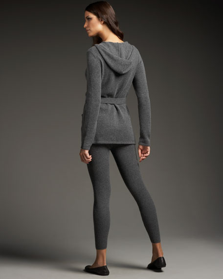 Hooded Cashmere Cardigan & Ribbed Leggings Set